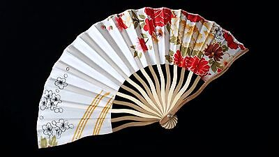 BEAUTIFUL POLYESTER AND BAMBOO FAN. WHITE AND RED FLORAL.