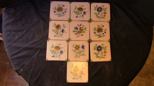 A Set Of 10 Delft Flower Tiles