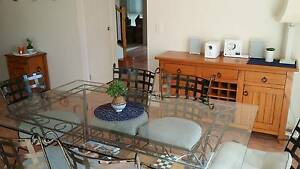 Glass top dining table with 6 matching chairs Mitchelton Brisbane North West Preview
