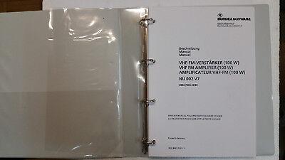 Rohde & Schwarz VHF-FM-Verstärker Handbuch