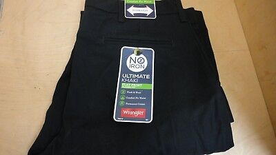 No Iron Black Pleated Pants - WRANGLER ULTIMATE KHAKI PANTS NO IRON PLEATED 34 X 29  BLACK  NEW