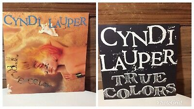 """Cyndi Lauper 1986 True Colors In Store Display 2 Sided Promo Sign 12""""x12"""""""