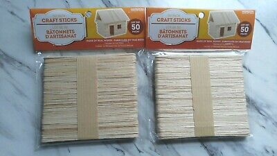 Popsicle Craft Sticks Made Of Real Wood!  2 Packs of 50 pc. Craft Project Ideas - Craft Sticks Ideas