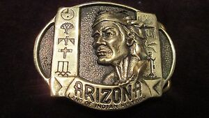 BELT BUCKLE ( solid brass) ( ARIZONA LAND OF INDIAN HISTORY