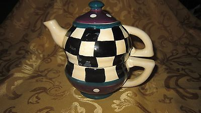 Tea For One Stacking Teapot and Cup Set 3 Piece handpainted