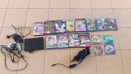PlayStation 2 Black Slim Console and games including Sing Star Ellen Grove Brisbane South West Preview