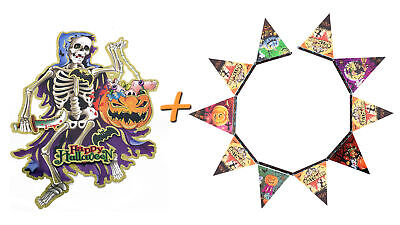 Halloween Deco 2er Set (Paper Garland + Aufhängebild) Decoration Package