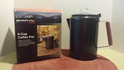 Percolating Coffee Pot Hard Steel Durable Coffee Maker for Camping 9 cup