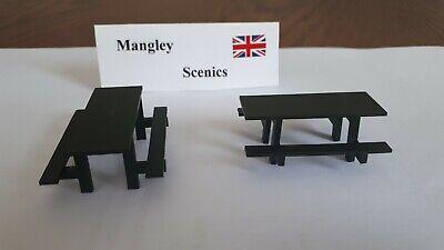 MANGLEY SCENICS 2 x Picnic tables O gauge diorama model railway 1/48...
