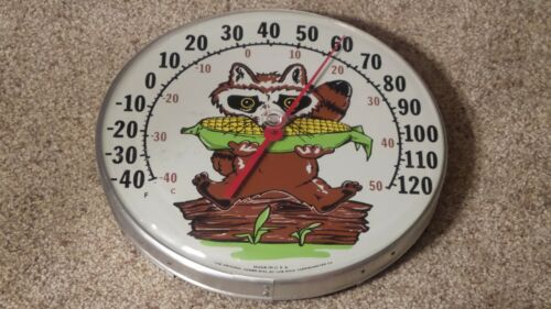 Vintage Original Jumbo Dial Thermometer Raccoon Eating Corn Made In U.S.A.