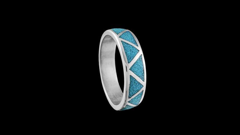 Navajo Ring, Flat Stone Ring, 925 Sterling Silver, Native American Wedding Band