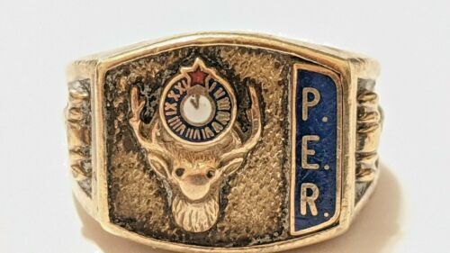 VINTAGE 10K YELLOW GOLD ELKS CLUB RING PER PAST EXALTED RULER SIGNED H.O. 10K