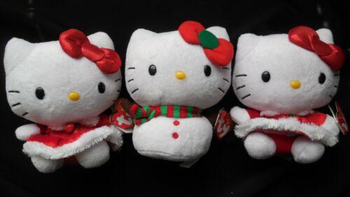 Sanrio Hello Kitty Ty Beanie Babies Christmas Plush Set of 3. FREE SHIPPING!