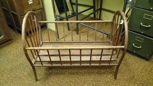 Vintage Antique Oak, Spindle, Bentwood Baby Cradle