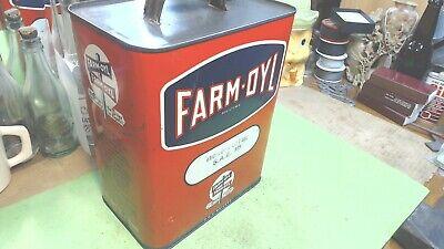 Vintage--farm-oyl Registered - 2 Gallon Metal Can -hydraulic Lift Oil S.a.e.10