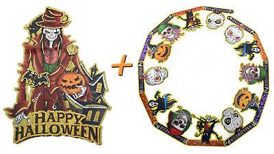 Halloween Deco 2er Set (Paper Garland + Aufhängebild) Decoration Skeleton