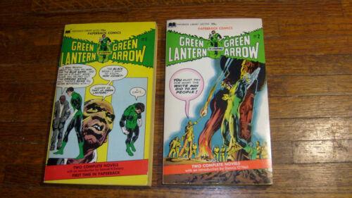 GREEN LANTERN GREEN ARROW 1&2 vintage paperbacks, NEAL ADAMS reprints, 1972 1sts