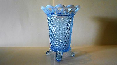 Imperial Glass KATY BLUE Laced Woven Edge Opalescent Footed Vase