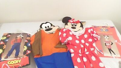 2 1990's Disney Goofy  & Minnie Mouse Toddler Halloween Costumes