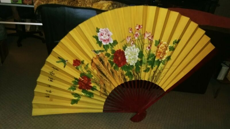 """Vintage Beautiful Floral Chinese Fan Wall Decor 70"""" X 40"""" Stunning Detail Signed"""