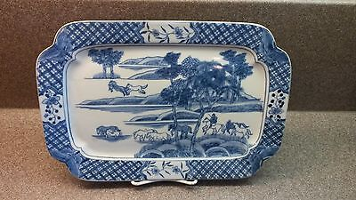 VINTAGE ASIAN PORCELAIN CHINESE SERVING TRAY/PLATTER BLUE & WHITE WITH HORSES