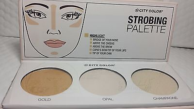 CITY COLOR STROBING PALETTE HIGHLIGHTER GOLD, OPAL & CHAMPAGNE NEW (Champagne Gold Color)