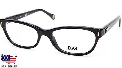 NEW D&G Dolce & Gabbana DG 1205 501 SHINY BLACK EYEGLASSES FRAME 52-17-135 B33mm