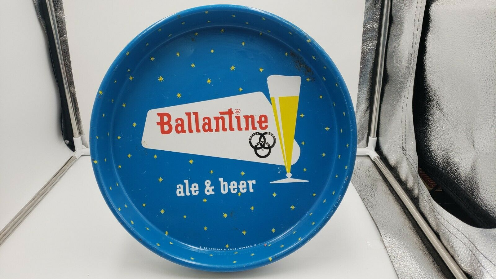 Ballantine Ale & Beer Metal Bar Serving Tray Newark, NJ Vintage Blue w/ Stars