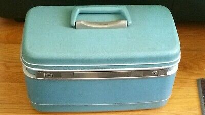 VINTAGE Samsonite Blue Carry-On Cosmetic Overnight Train Case  Mirror MAKE-UP