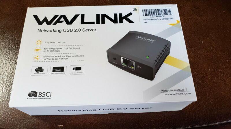 Wavlink NU78M41 10/100Mbps Ethernet to USB 2.0 Network LPR Print Server FREESHIP