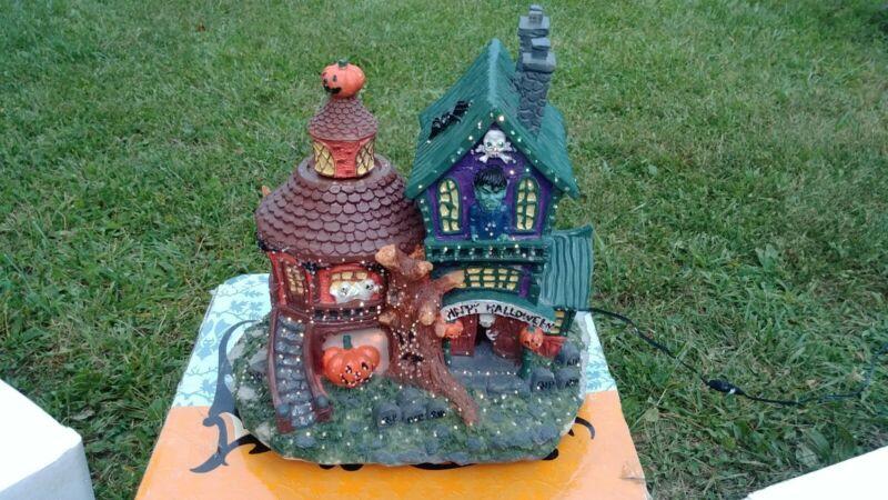 "2003 Halloween Fiber Optic Color Changing Haunted House 10""  Box"