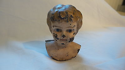 "Antique TIN DOLL HEAD Chipped & Worn & Kinda Creepy, 2-3/4"""