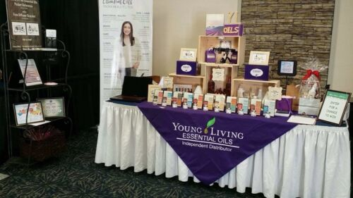 Custom Vendor Tablecloth Overlay- Young Living Essential Oils - Your Logo