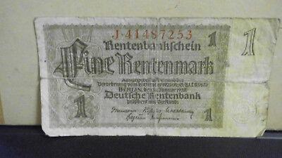 Geldschein Rentenbankschein - Eine Rentenmark - 30.Januar 1937