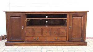 SOLID WOOD BALINESE TV CABINET, GC! Greenslopes Brisbane South West Preview