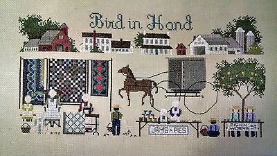 """""""Bird In Hand"""" Needlepoint Cross Stitch Framed Country Style"""