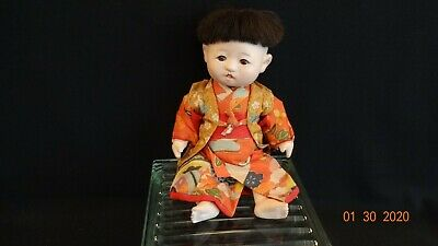 Vintage Doll Asian Boy - Strung, Composition with Brown Glass Eyes, Nice Costume