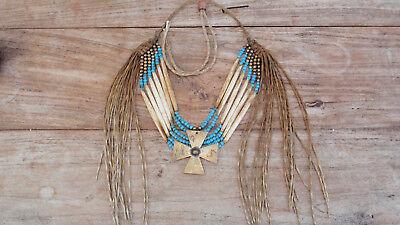 Brustpanzer Indianerschmuck Knochenröhren Quillwork Beadwork Indianer Chevron