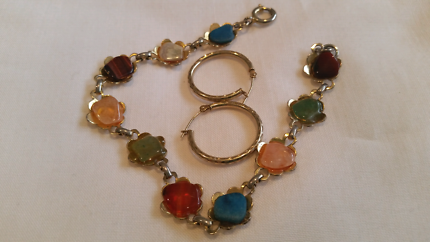 Gold-Coloured Bracelet and Earings