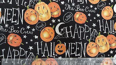 Springs Creative Halloween The Boo Crew Pumpkins 100% cotton fabric by the yard (Halloween Cloth)