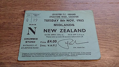 Midlands v New Zealand 1983 Used Rugby Ticket
