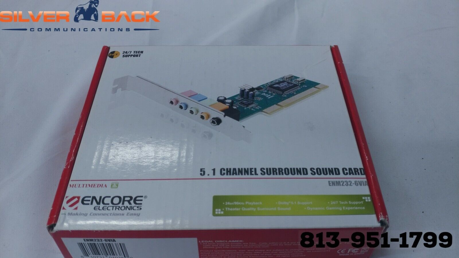 PCI Sound Card 5.1 Channel 3D Enm232-6 Via Via Chipset 6 Cha