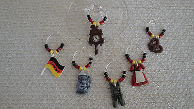 """""""GERMANY/,GERMAN"""" SET OF 6 HAND CRAFTED Wine Glass Charms"""
