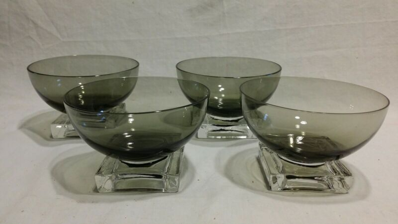 Set Of 4 Mid-century Glass Dessert Bowls Footed Square Base Smokey Gray to Clear