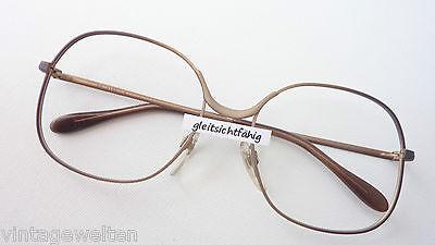 Metall Gestell Kassen Brille 70er Jahre Rahmen Damen Hippie Style braun Gr. M