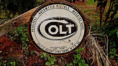 COLT FIREARMS REVOLVERS PISTOLS AMMO AMMUNITION ROUND TIN SIGN METAL WALL DECOR