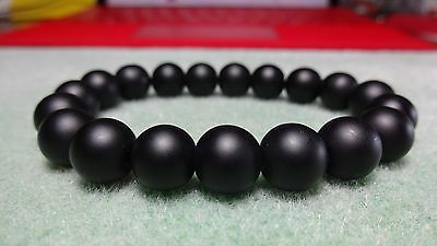 """Matte Black Onyx Bead Bracelet for Men or Women On Stretch 10mm AAA - 7.5"""" inch"""