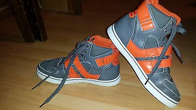 Vlado Footwear Men's Knight II Grey / Orange Hightop Shoes covid 19 (Orange Leather Footwear coronavirus)