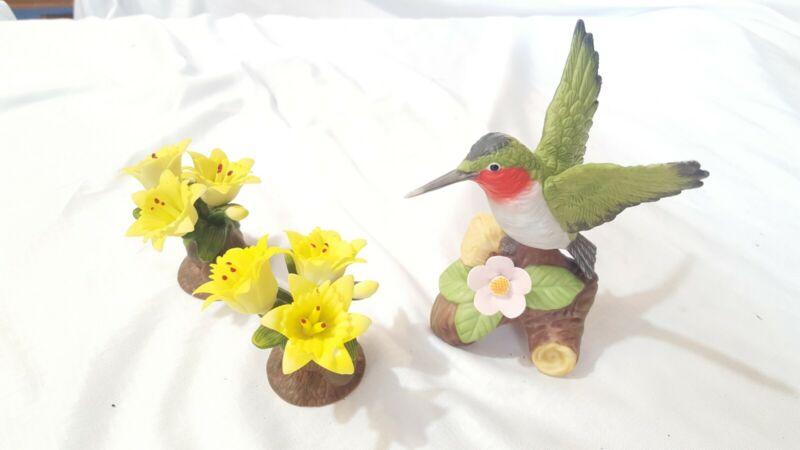 Ceramic Hummingbird Figurine Flower Set