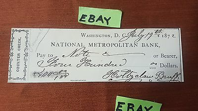 National Metropolitan Bank 1872 Washington D C Counter Check 400 Dollars